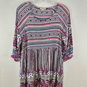 entro Dresses - 💘 Entro Tribal Print Baby Doll Boho Tunic Dress S